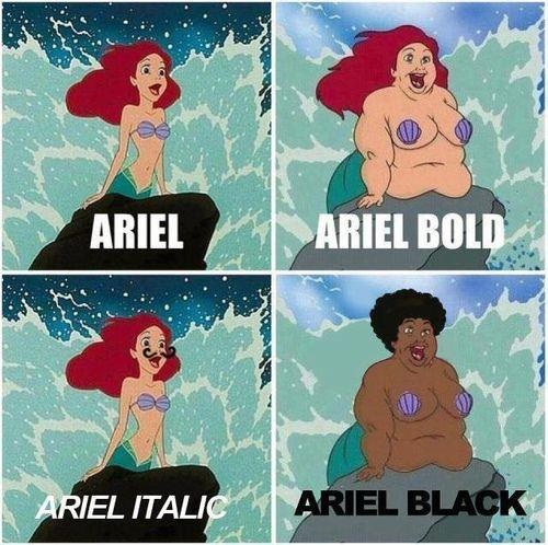 Ariel, Arial, font, русалочка, OH SHI--