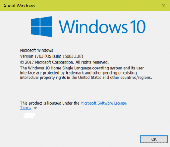 winver, windows 10 creators update