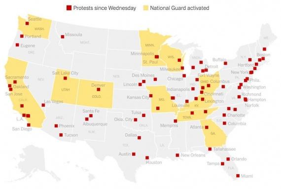 расширенная карта протестов в США