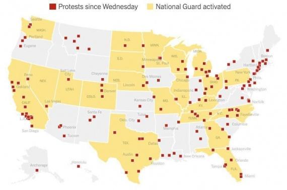 задействование нацгвардии на протестах в США