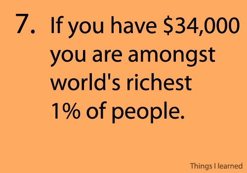 you're amongst world's richest 1% people