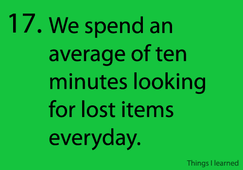 spending time on finding lost things - 10 minutes per day, in average